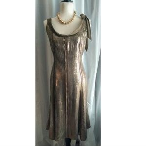 Ellen Tracy Taupe Sequined Silk Midi Dress Sz 12